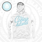 Image of Simplicity - White hoodie - Legend blue Print