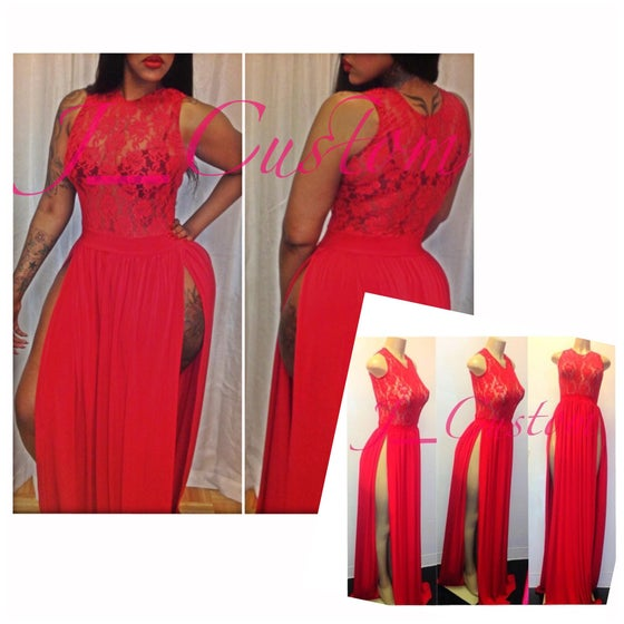 Image of Ruby Red High Split Dress