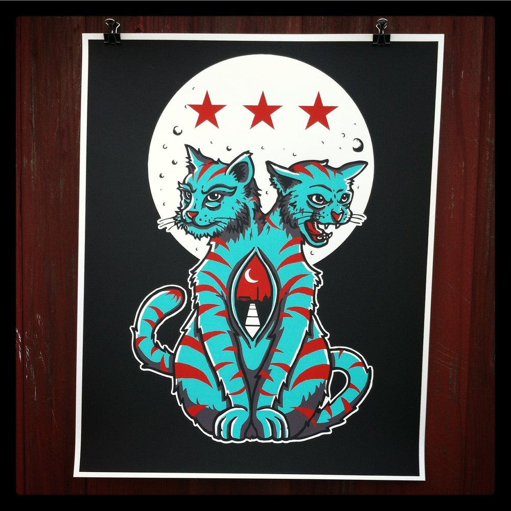 """Image of """"Cats Down Under the DC Stars"""" Art print..."""