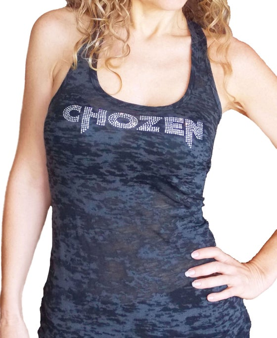 Image of CHOZEN RHINESTONE BLACK BURNOUT TANK TOP