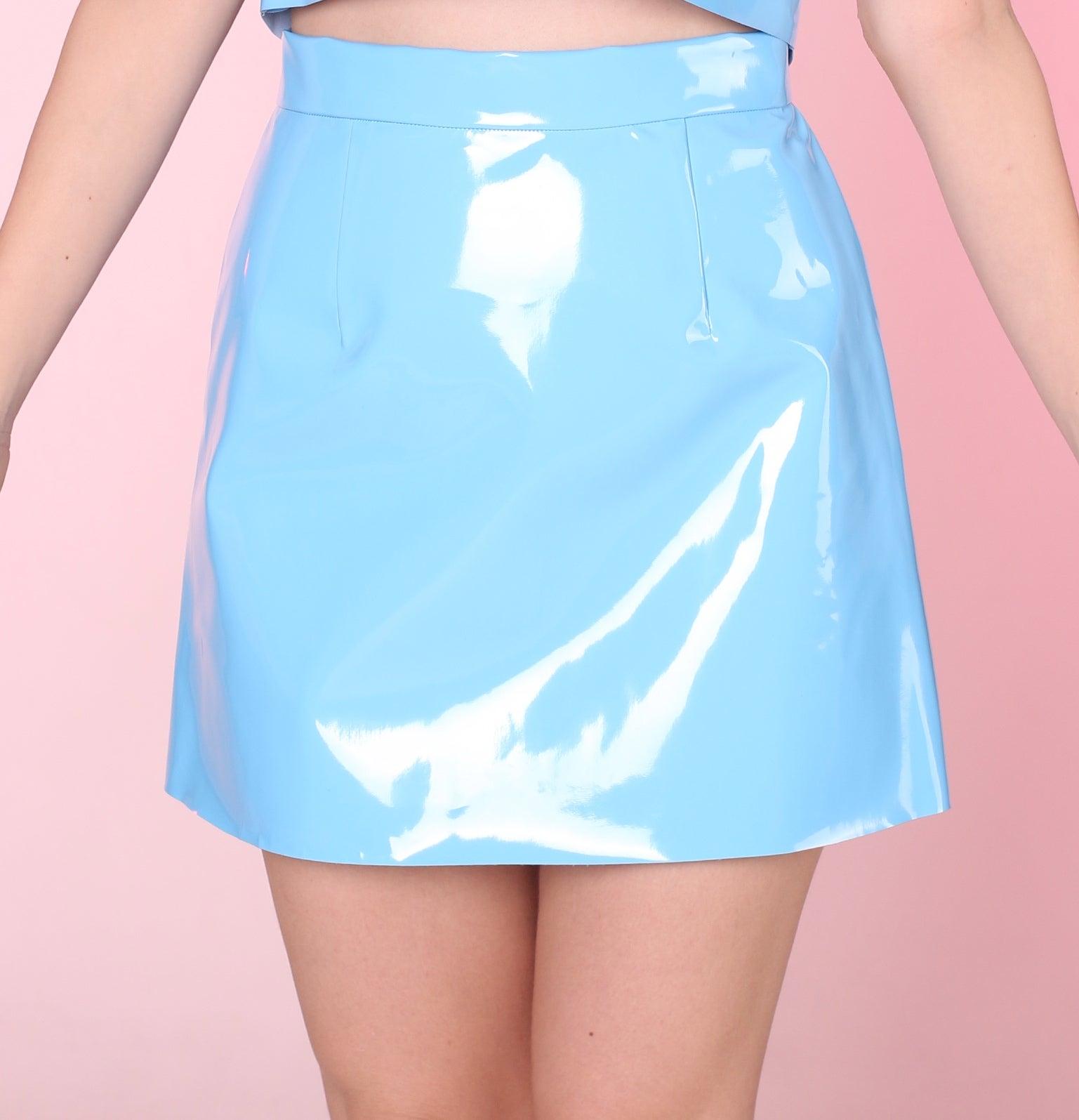 glitters for dinner made to order blue pvc motel skirt