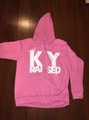 Image of KY Raised Female Pink & White Zip Hoodie