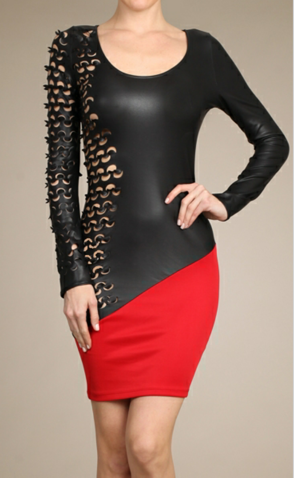 Red faux leather dress flaunting with fashion black and red faux