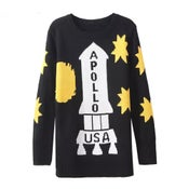 Image of Women's Pullover Knitwear/Sweater With Apollo Spaceship Pattern