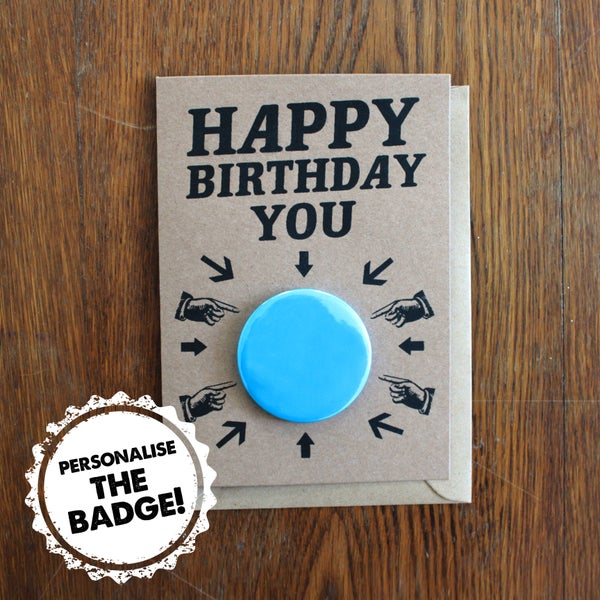 Image of Personalise Birthday Card | Birthday Badge Card
