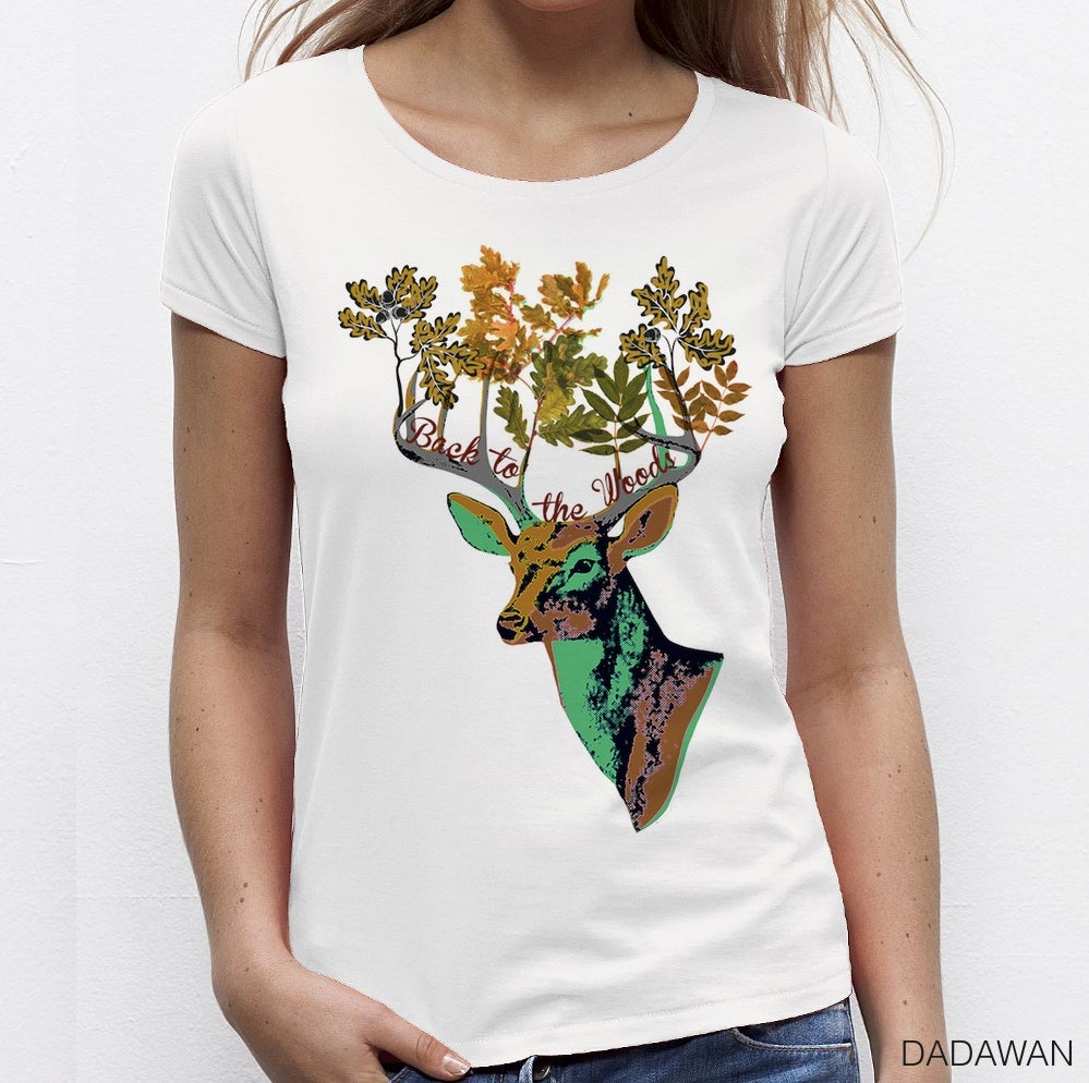 Image of T-shirt femme blanc Back to the Woods