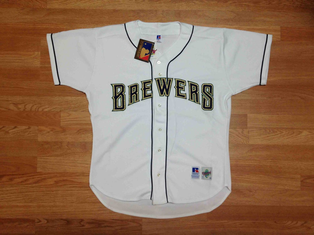 Image of Vintage DS Milwaukee Brewers Home White Authentic Russell Baseball Jersey