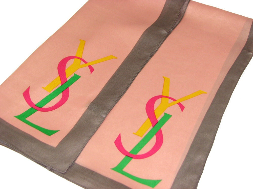Image of SOLD OUT YSL Authentic Vintage Silk Logo Scarf in New Mint Condition