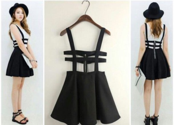 Image of HOT HOLLOW OUT GRID STRAPS DRESS o