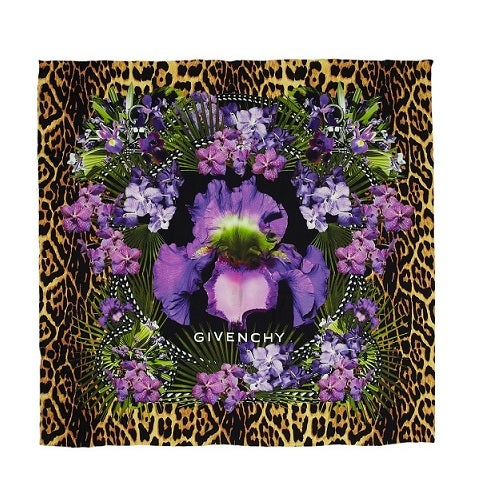 Image of ON SALE AUTHENTIC Givenchy Leopard and floral-print silk-twill scarf