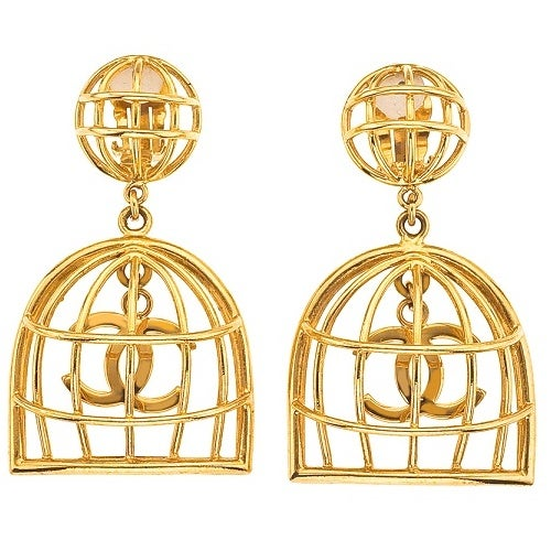 Image of SOLD OUT CHANEL AUTHENTIC BIRDCAGE EARRINGS AS SEEN ON BEYONCE AND JESSICA SIMPSON