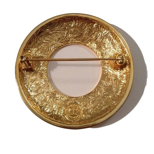 Image of SOLD OUT- SALE GIVENCHY PARIS BIJOUX AUTHENTIC MASSIVE CIRCULAR GOLD PIN BROOCH - MINT CONDITION