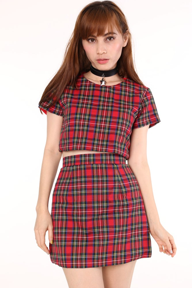 Image of Ready To Post - Red Tartan Motel 2 Piece Set