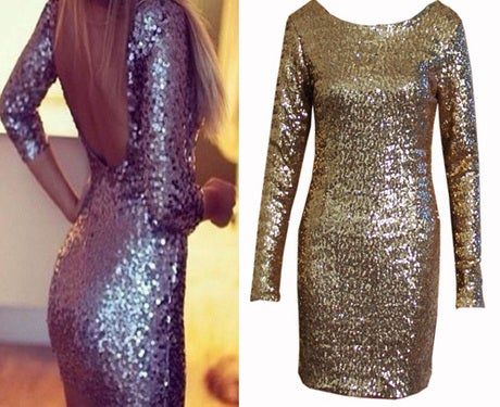 Image of SHINING BACK SEQUINS CUTE DRESS