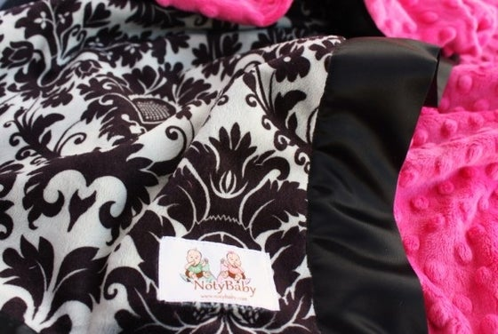 Image of BABY/ TODDLER/ ADULT BLANKET - BLACK & GRAY DYNASTY DAMASK WITH HOT PINK MINKY & BLACK SATIN TRIM