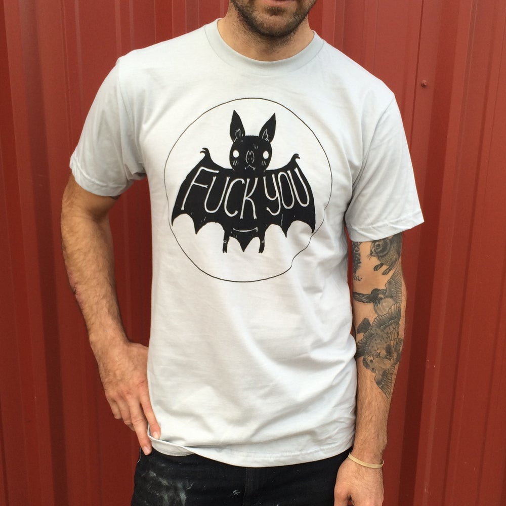 Image of Silver Fuck You Bat Shirt
