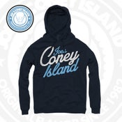 Image of Simple - Navy Hoodie - Legend Blue  White Print