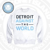 Image of Detroit against the world - Grey crew Neck - Legend Blue -Navy _white Print