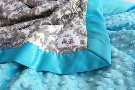 Image of BABY STROLLER BLANKET - GRAY & WHITE DYNASTY DAMASK WITH TUQUOISE MINKY & SATIN TRIM