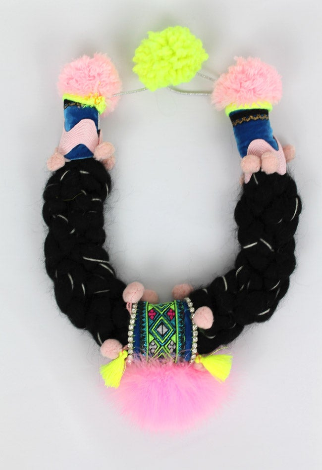 Image of BLACK WOOL + PINK FEATHERS COLLAR