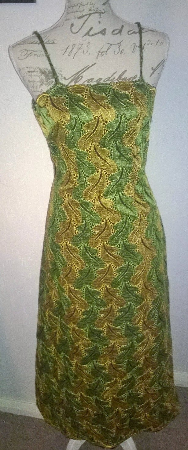 Image of Green and Gold leaf maxi dress