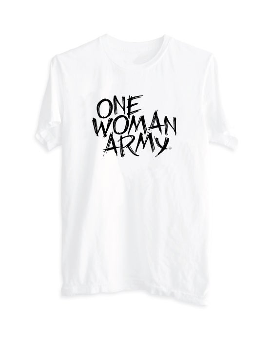 "Image of ""One Woman Army"" Women's Boyfriend Tee White"