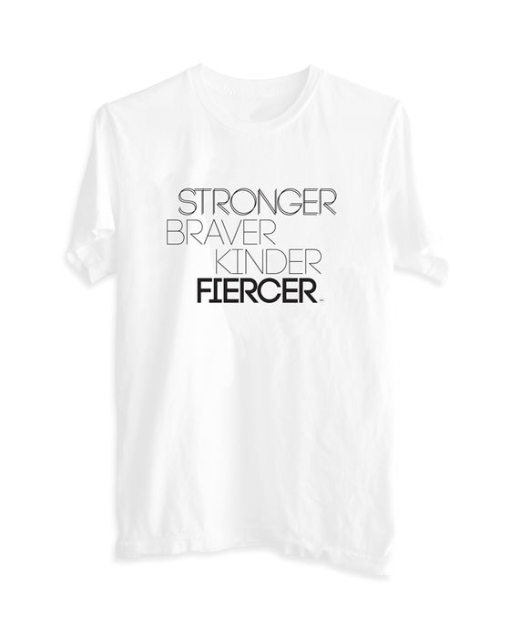 "Image of ""Stronger Braver Kinder Fiercer"" Women's Boyfriend Tee White"