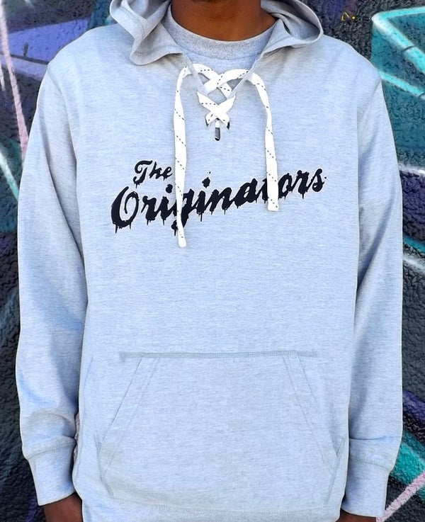 Image of DRIP SCRIPT LACE PULLOVER HOODIE (HEATHER GREY)