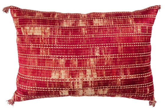 Image of Antique Maroon Bolster with Pom Poms