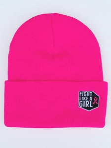 Image of Fight Like A Girl - Neon Pink Knit Beanie