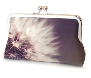 White and plum dandelion clocks purse, clutch bag - Red Ruby Rose
