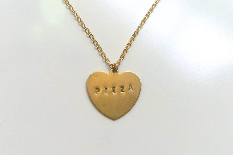 Image of Hand-Stamped Pizza Necklace