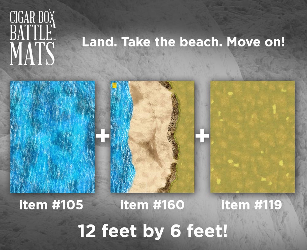 Image of Beachhead (3) Battle Mat Combo -- 4'x6' plus -- #161