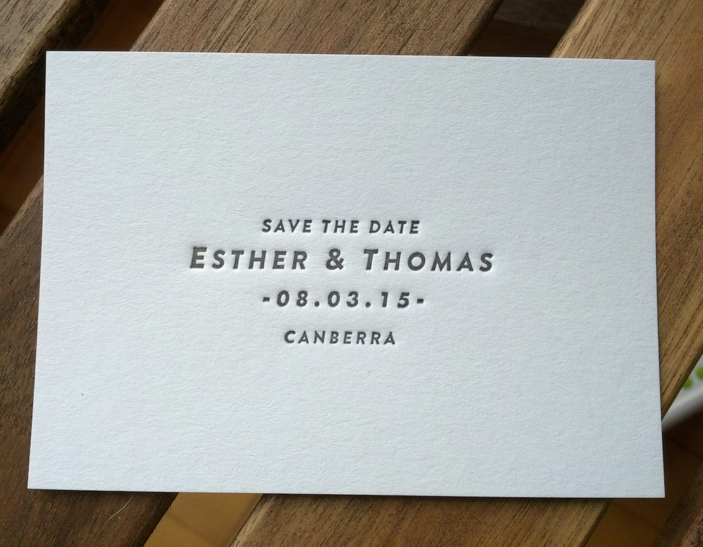 Image of  Save the Date Cards // Letterpress printed, A7 size - 'Maria'