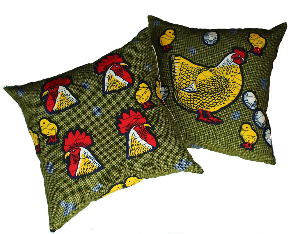 Image of Hen and Cockerel cotton and hemp cushion cover