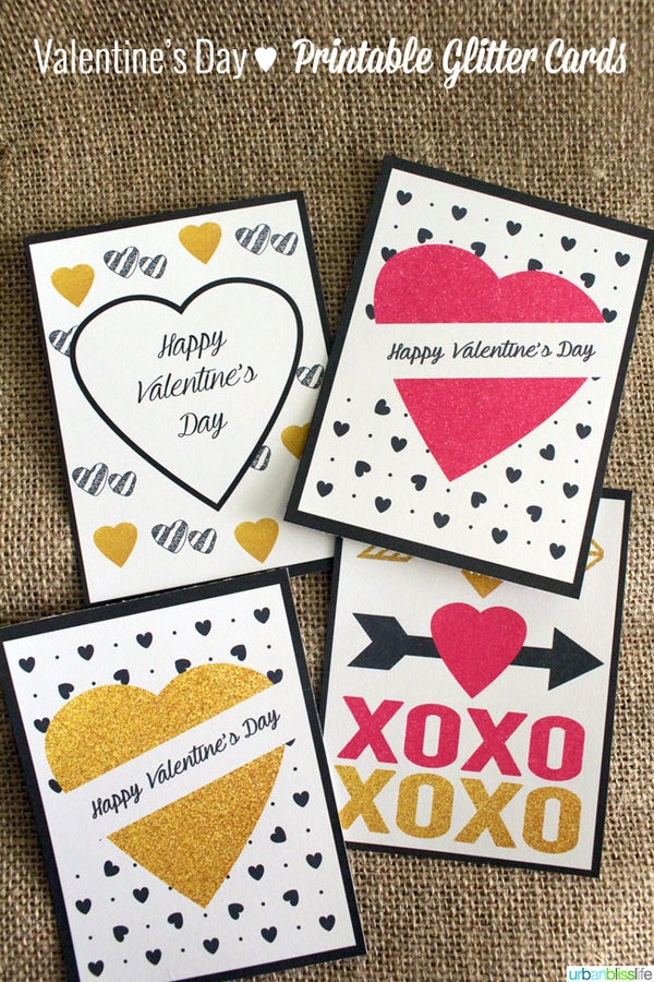 Image of Glitter Valentine's Day Cards Printable PDF
