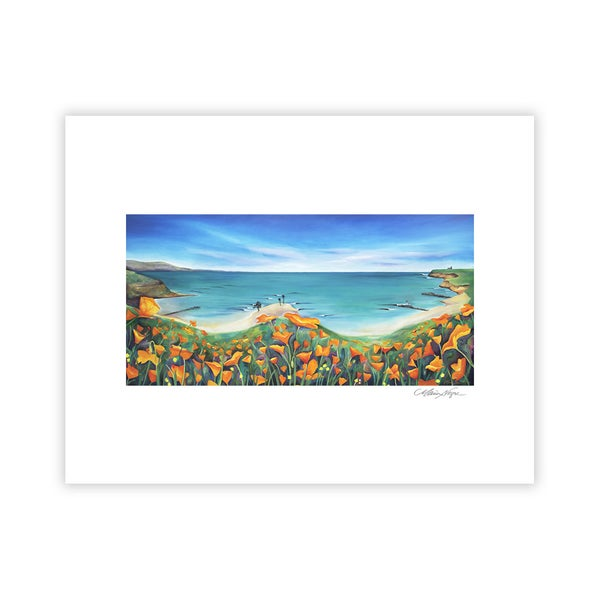 Image of Santa Cruz Poppies and Surf, Archival Paper Print