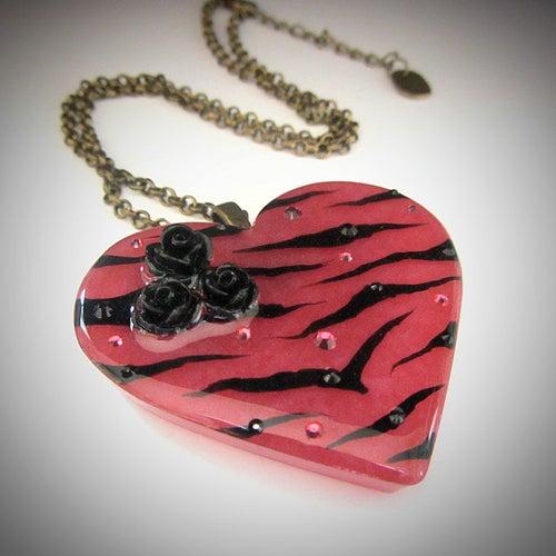 Image of Raspberry Zebra Stripe Resin Heart Pendant