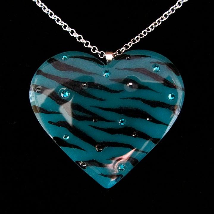 Image of Teal Zebra Stripe Resin Heart Pendant