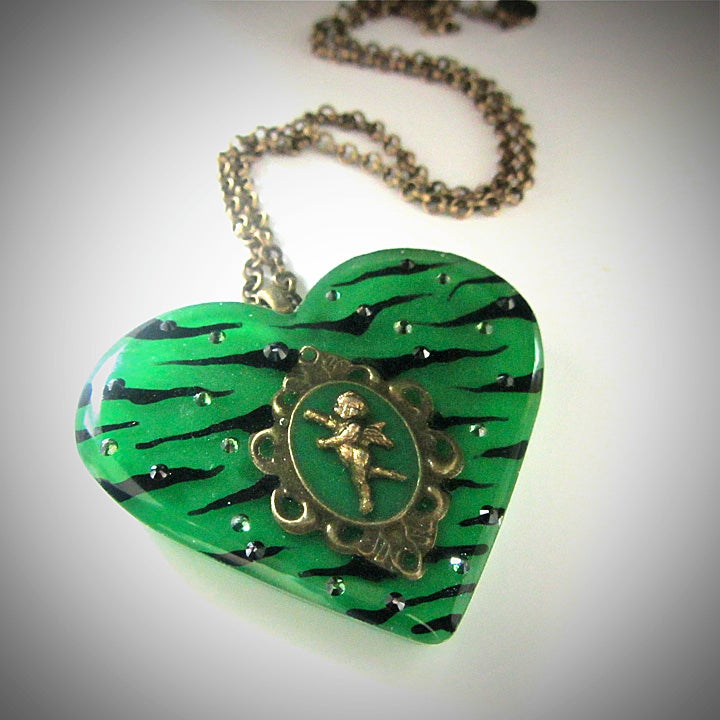 Image of Green Zebra Cameo Resin Heart Pendant