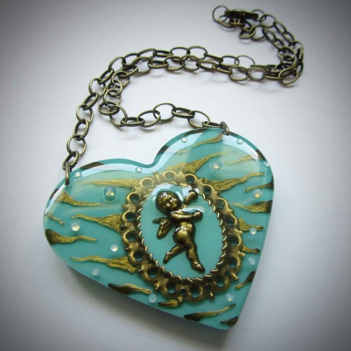 Image of Mint Zebra Cameo Resin Heart Pendant