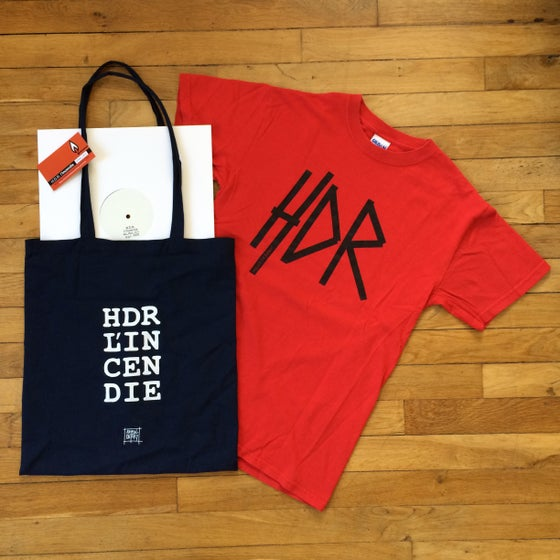 "Image of L'INCENDIE 12"" White Label + Tote Bag + HDR T-Shirt"