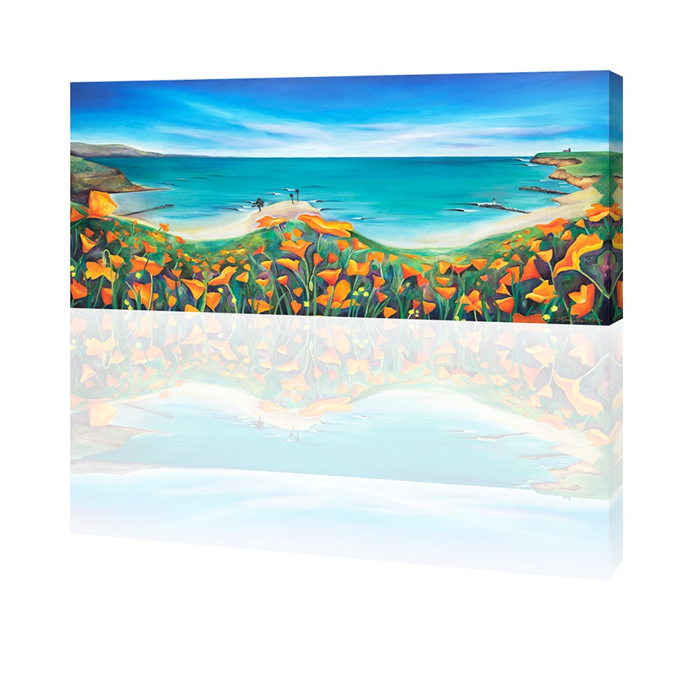 Image of Santa Cruz Poppies and Surf Giclee Print