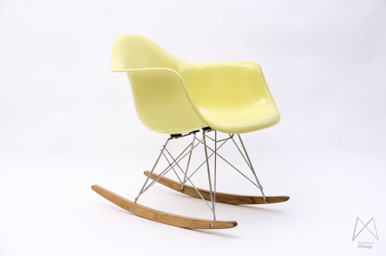 Image of Eames Herman Miller Baby Rocker RAR Lemon original label