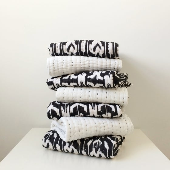 Image of Reversible Ikat Baby Quilt