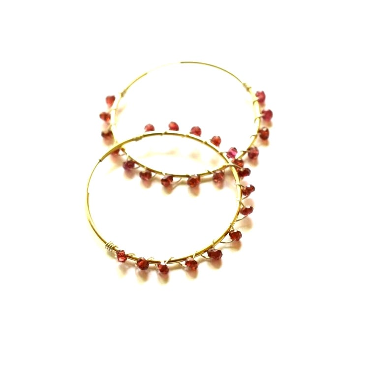 Image of Garnet hoop earrings mixed metal