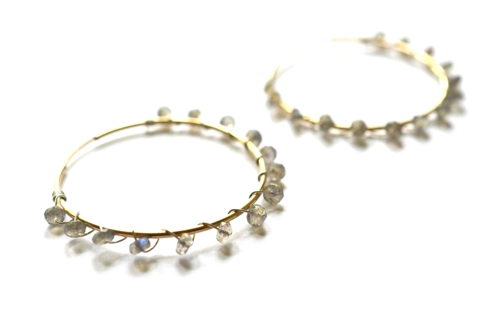 Image of Labradorite hoop earrings mixed metal