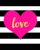 Image of {gold love black + white stripe with heart} 8x10 PDF download poster print