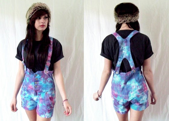 Image of Blue & pink tie dye high waisted dungaree shorts