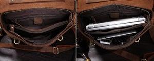 """Image of Vintage Handmade Crazy Horse Leather Briefcase Messenger 13"""" 15"""" MacBook / 13"""" 14"""" Laptop Bag (n368)"""